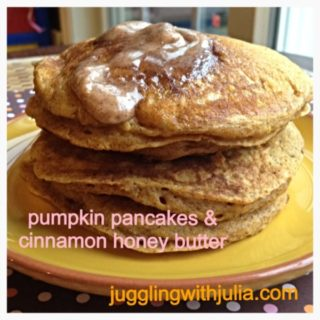 Pumpkin Spice Pancakes with Honey Cinnamon Butter