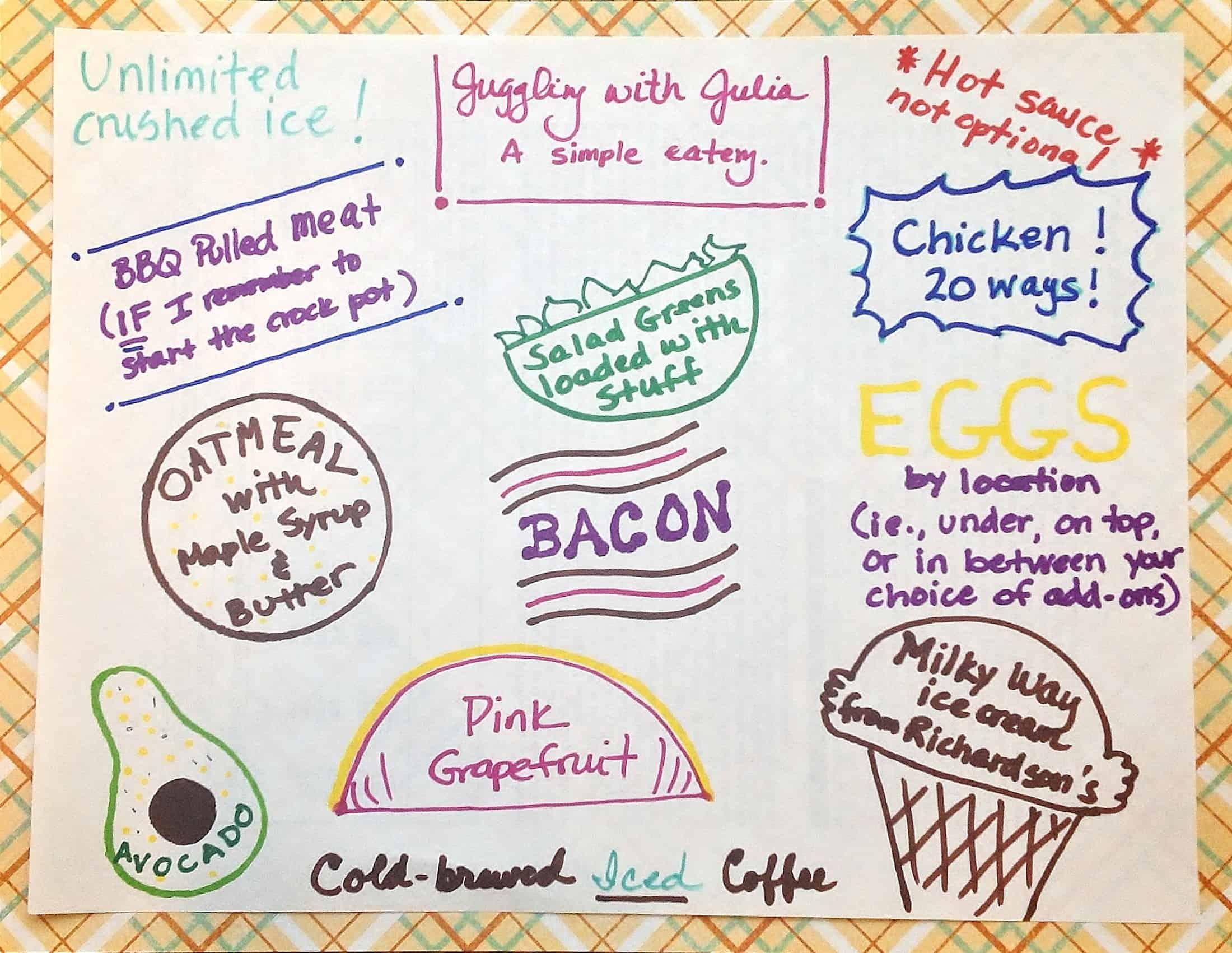 my fake restaurant menu juggling with julia