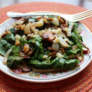 Warm Spinach Salad with Walnuts