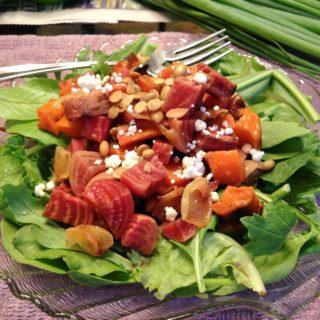 Roasted Beet and Carrot Salad with Honey Dijon Black Tea Dressing