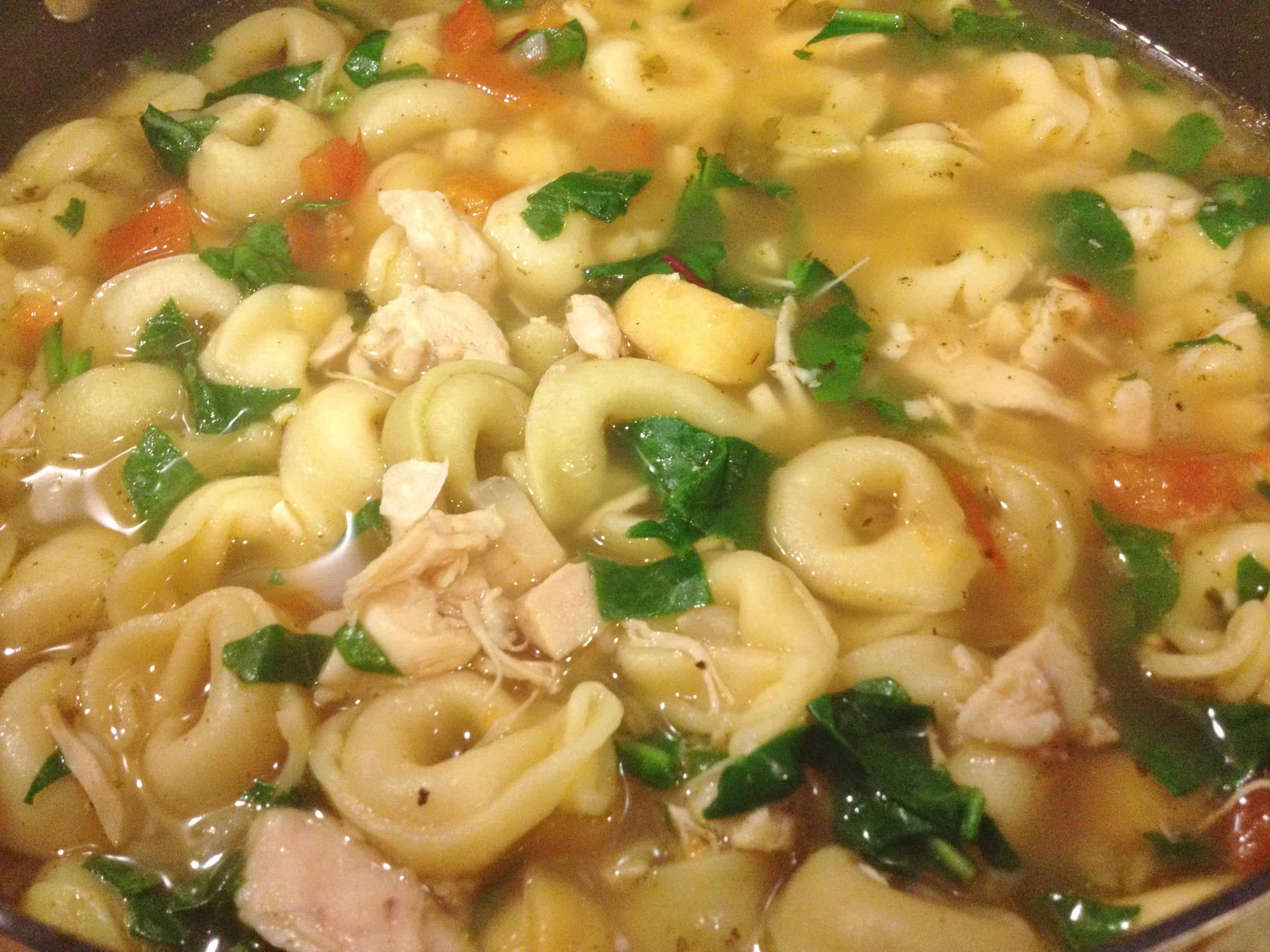 Chicken Tortellini and Spinach Soup - Juggling With Julia