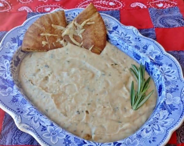 Rosemary Garlic White Bean Dip with Parmesan Pita Chips - Juggling ...