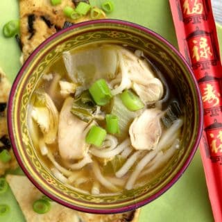 Chicken Bok Choy Soup with Scallion Pancakes