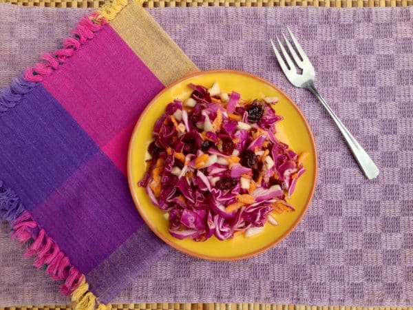 Purple Cabbage Cranberry Apple Slaw -- Juggling With Julia