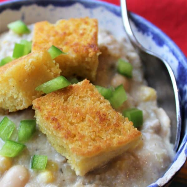 Creamy White Turkey Chili with Cornbread Croutons - juggling with julia