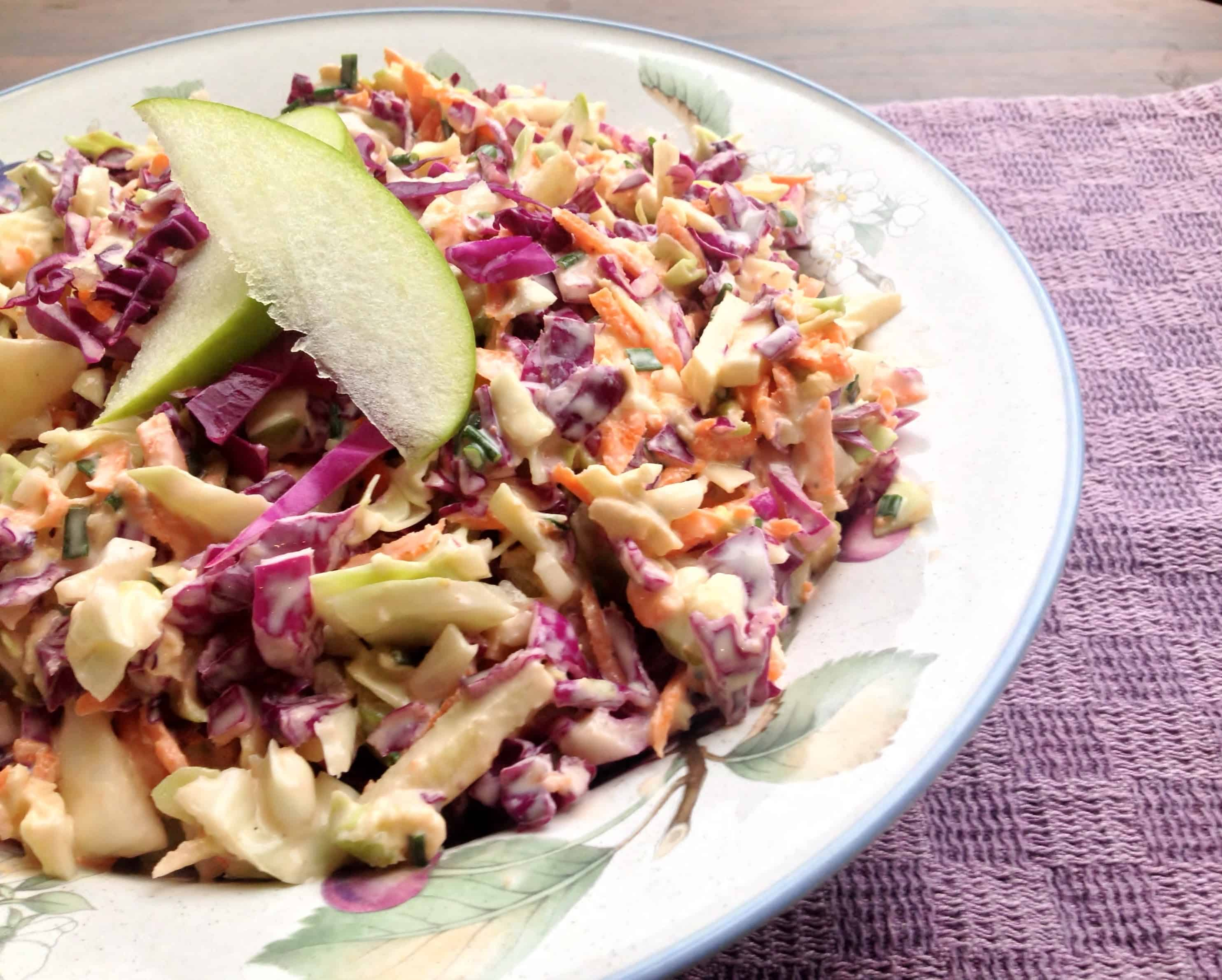 Apple Cabbage Slaw with Greek Yogurt Dressing - Juggling with Julia ...
