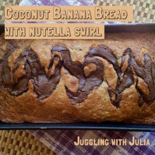 Coconut Banana Bread with Nutella Swirl