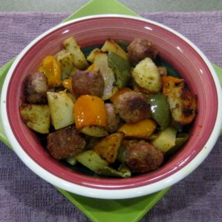 Roasted Turkey Sausage with Potatoes, Peppers, and Onions